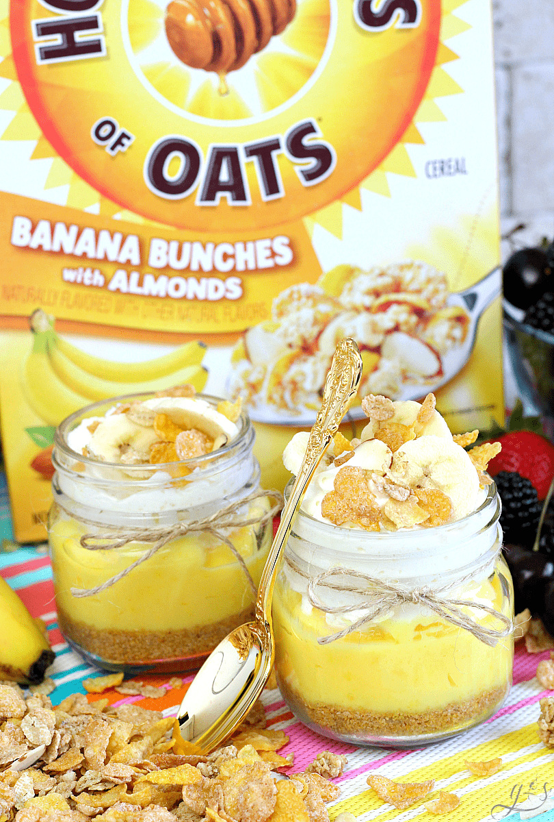 The BEST No Bake Pie in a Jar-AD You just stepped up your #summer dessert game with this easy cereal crust, french vanilla pudding, whipped cream, fresh healthy bananas, and Honey Bunches of Oats Banana Clusters with Almonds packed into the cutest mini mason jar. Serve these fun jars at parties for a crowd or keep it simple as a fast #dessert or snack for kids.This quick and simple 6 ingredient #recipe is sure to please the whole family! #pie #SummertimeTasty #CollectiveBias @hboats @Walmart