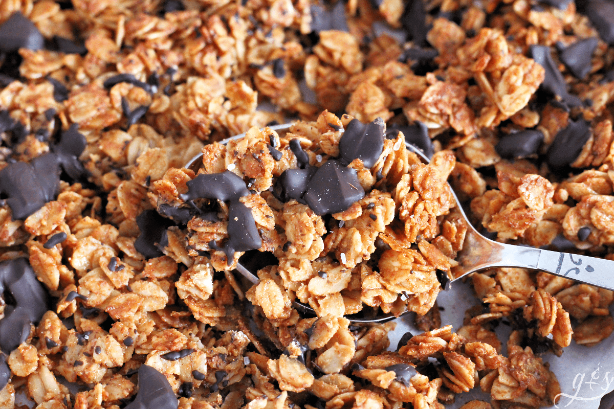 Spoonful of salted nut butter granola with chocolate chunks on a baking sheet.