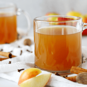 Clean glass mug full of apple cider surrounded by apple wedges, cinnamon sticks, whole nutmegs, and whole cloves.