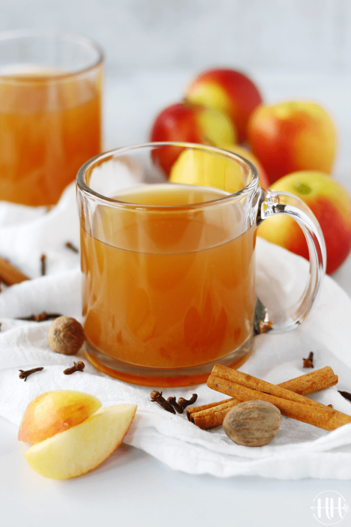 The BEST Crockpot Apple Cider | This easy homemade recipe is packed full of sweet apples, oranges (cuties), cinnamon sticks, nutmeg, cloves, and maple syrup. Serve this small batch of a classic hot drink on those cold fall nights or on Thanksgiving. Use your small slow cooker (1.5 qt) or triple the recipe and use your regular appliance. This simple from scratch recipe is healthy too using only natural sugar not brown sugar. #easyrecipes #fallrecipes #glutenfree #healthyrecipes #cleaneating