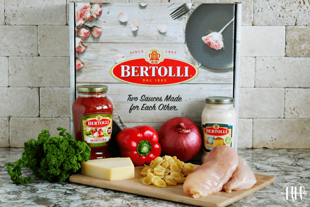 All the ingredients in a Bertolli Valentine's Day Date box ready to be made into a romantic pasta dish.