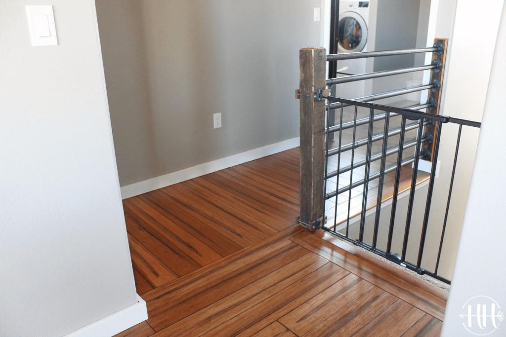 Beautiful wood floor in hallway.