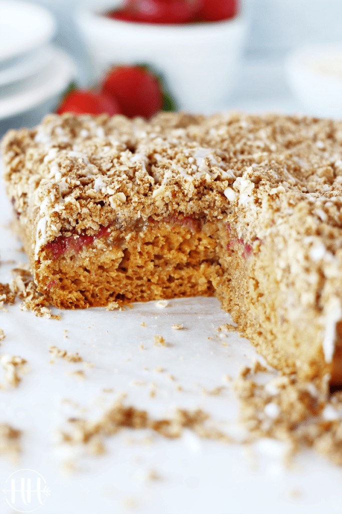 This simple gluten free, dairy free, and refined sugar free Strawberry Coffee Cake recipe is packed with strawberries and other healthy ingredients. Gluten free flour mix, coconut sugar, almond milk (coconut milk will work), eggs (try flax or chia eggs for vegan version), and coconut oil (butter) combine to make the most delicious weekend breakfast or easy brunch. Surprise the best mom in your world with this clean eating cake on Mother's Day this year! PS...You will love the crumb too!