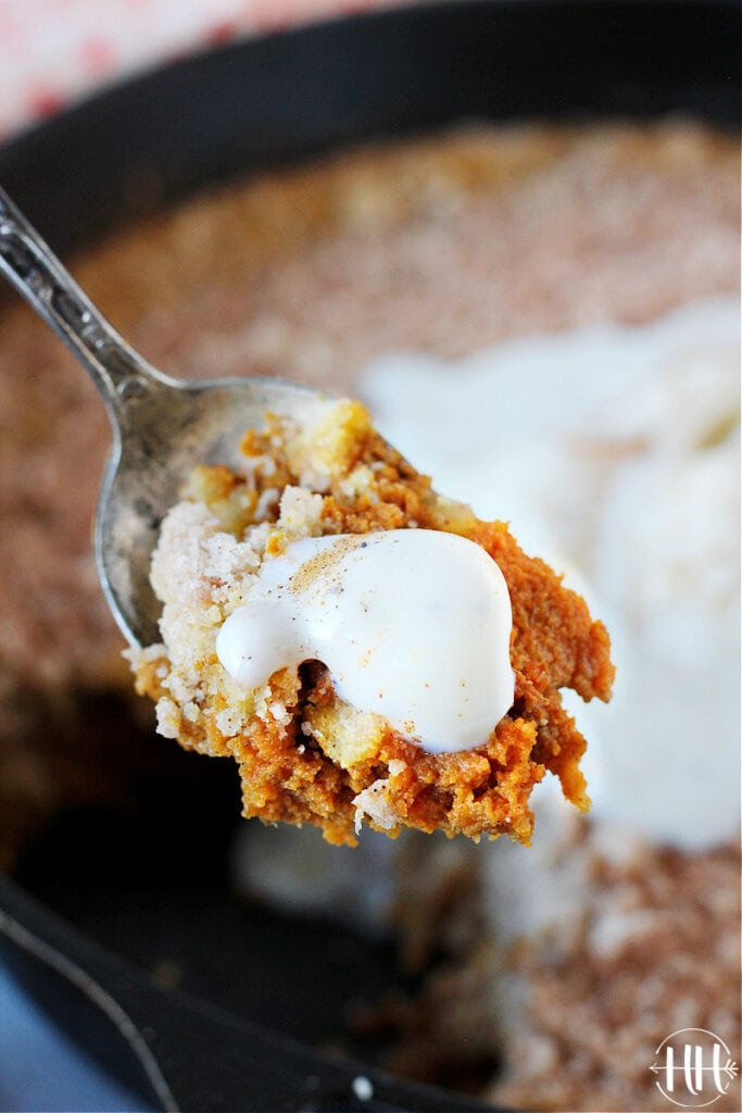 The BEST Pumpkin Pie Crisp you have ever had just got a makeover! Gluten free and dairy free during the holidays can be delicious using plant based butter, almond milk, and a gluten free flour blend. This recipe is easy and healthy with a cinnamon streusel perfect for fall. The Thanksgiving dinner table needs this clean eating crumble along with vegan ice cream and Cool Whip. This from scratch dessert can use fresh homemade pumpkin or real canned puree.