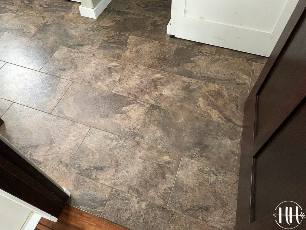 Luxury Vinyl Plank Tile Flooring in laundry room.