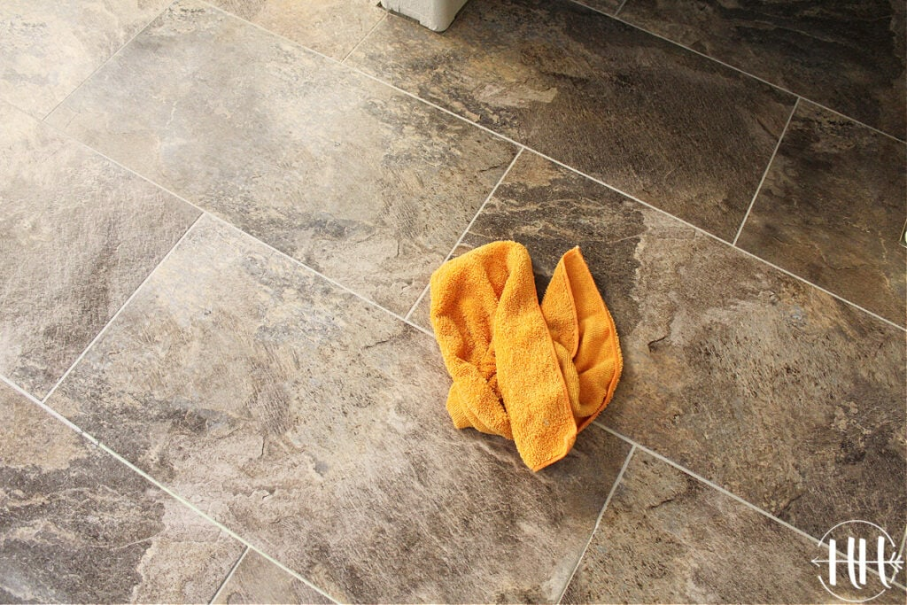 Nice clean floor after soft cloth cleaned the remaining grout.