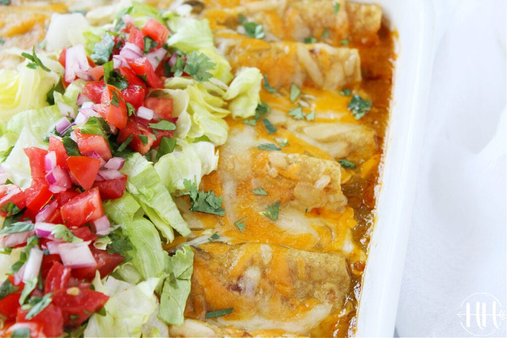 Beautiful pan of Mexican casserole.