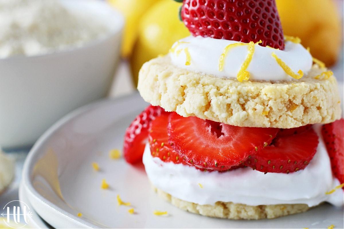 Vegan strawberry shortcakes with coconut milk whipped cream.