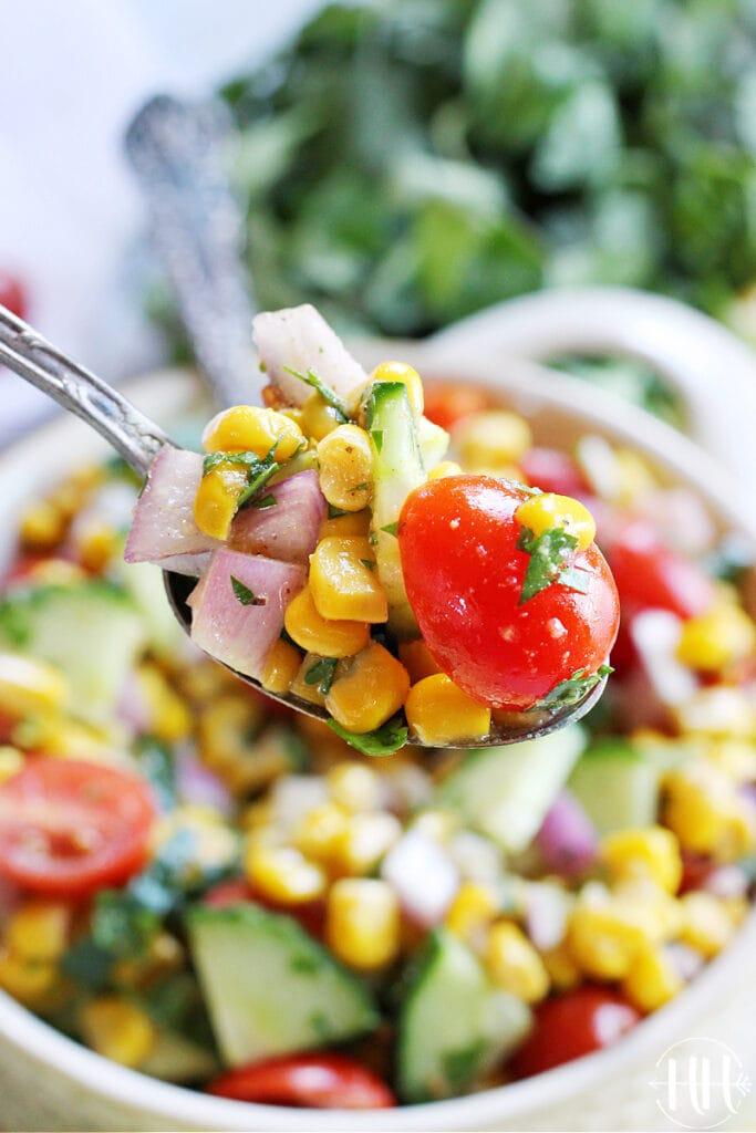 A spoonful of vegan salsa!