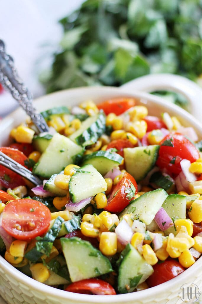 The BEST Roasted Corn & Cucumber Salsa | This easy vegan, dairy free, gluten free, and super colorful salsa can be a dip for tortilla chips, on chicken tacos, beef burritos, and vegetarian tostadas. Use canned roasted corn kernels or fresh sweet corn with tomatoes, cucumber, red onion, and cilantro. Clean eating appetizers, side dishes, and healthy salad toppings are all the rage and this corn salsa recipe can be all 3! This corn cucumber tomato salsa comes together in less than 20 minutes.